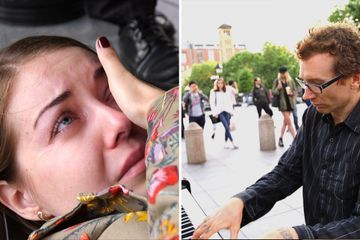 Meet the busker who brings his listeners to tears