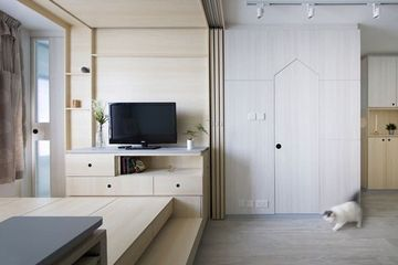Multigenerational 453 sq. ft. apartment is home to couple, mother & two pets