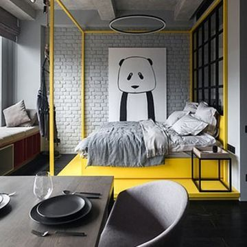 Monochromatic 430 sq. ft. apartment comes alive with bursts of color